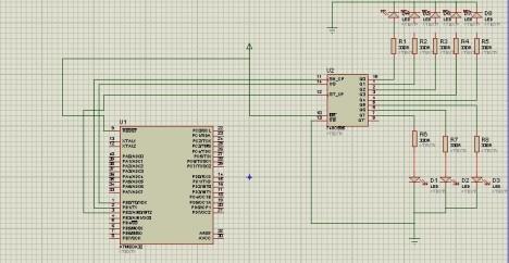 74HC595 circuit digram with AVR